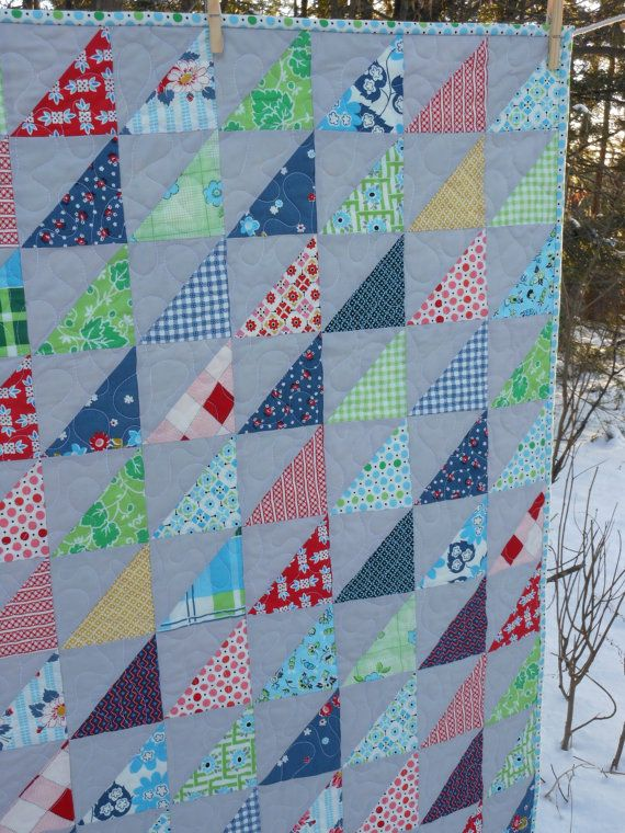 Triangle Patchwork Modern Baby or Lap Quilt by ModernMaterialGirl, $148.00
