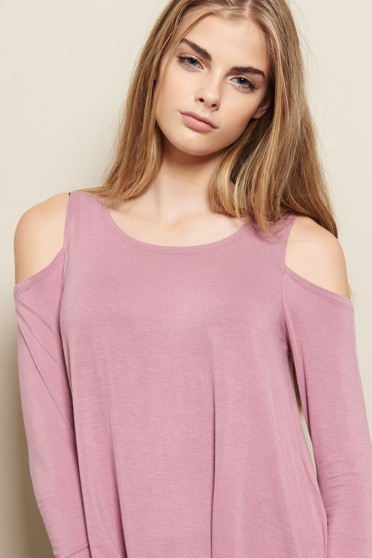 Bare a little! Featuring a flirty cold shoulder and comfy swing fit, this long sleeve top is awesome without even trying.