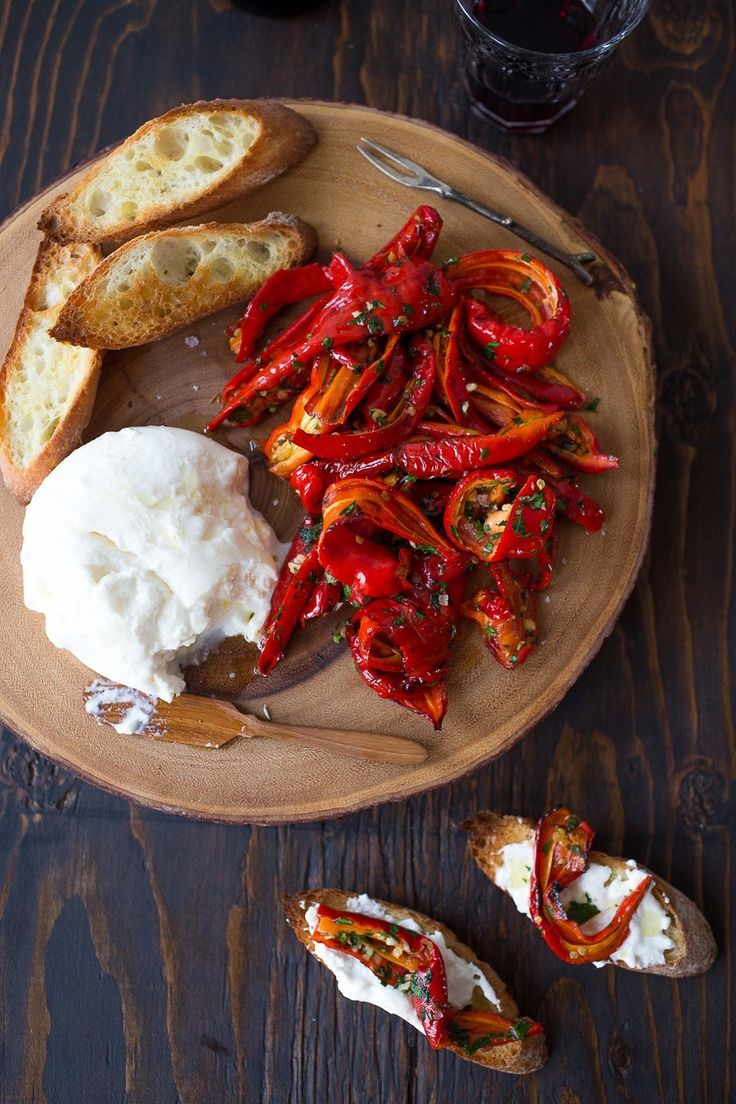 Jimmy Nardello Peppers with Burrata | Jimmy Nardellos are the perfect fall pepper, and are in an abundance at the markets right now.  Have you tried them? @chezus