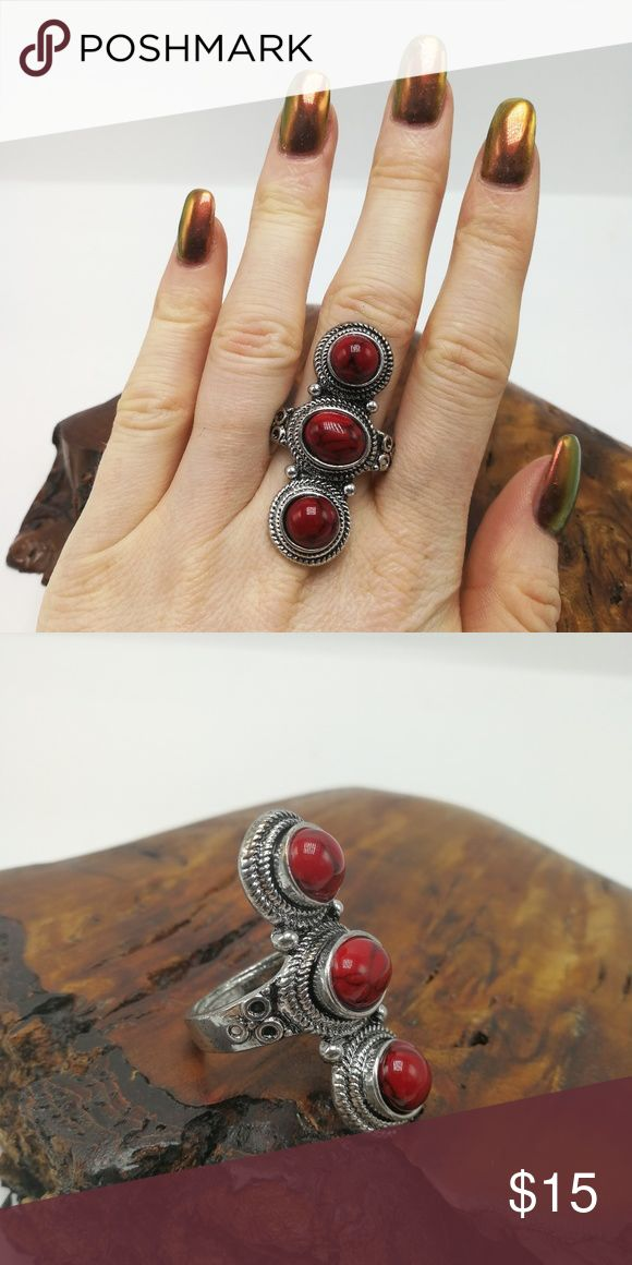 PLUS 3 stone Turquoise howlite red coral silver New with tags! Gorgeous Natural Gemstone White Buffalo Turquoise howlite Tibet Silver ring. Mixed metals. Lead and nickel free. Price is firm. No holds. Bundle to SAVE. R#3007 PLUS SIZE Jewelry Rings