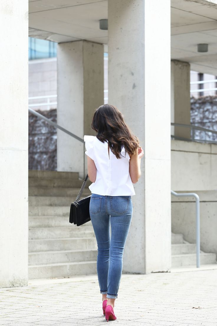 white ruffle top and the world's most flattering skinny jeans – Marie's Bazaar