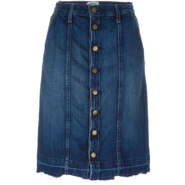 Current/Elliott denim pencil skirt (5.180 ARS) ❤ liked on Polyvore featuring skirts, blue, pencil skirts, denim pencil skirt, knee length pencil skirt, blue denim skirt and knee length denim pencil skirt