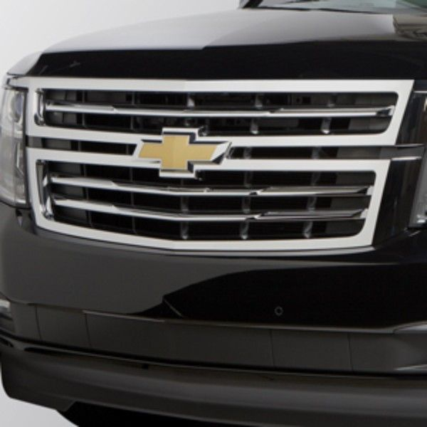2015 tahoe front grille with chrome finish chrome finish chevrolet and chevrolet suburban. Black Bedroom Furniture Sets. Home Design Ideas
