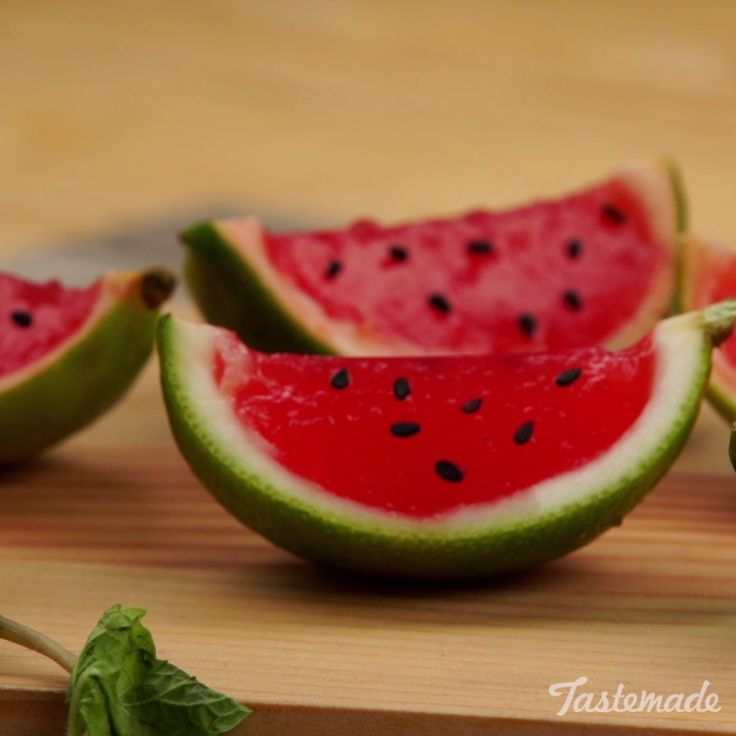 Limes are the perfect vessels for adorable watermelon jello cups.