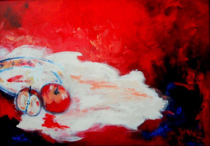 Maria Guia Pimpão (acrílico sobre tela 70x50) a magia da maça