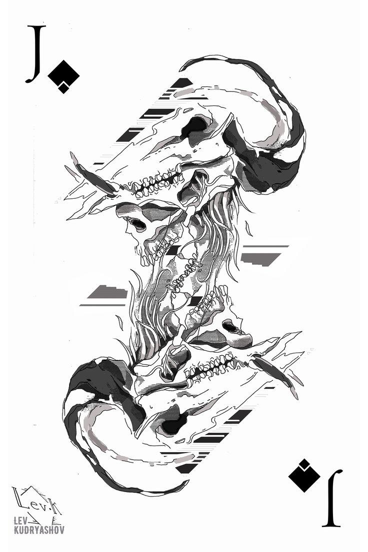 Tattoo sketch / Тату эскизы Tattoo ideas / Тату идеи Валет. Карты. Череп. Skull. Jack. Cards
