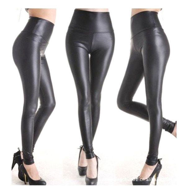 CoolMall Hot Plus Size Fashion Sexy Women High Waist Black Stretchy PU Faux Leather Leggings