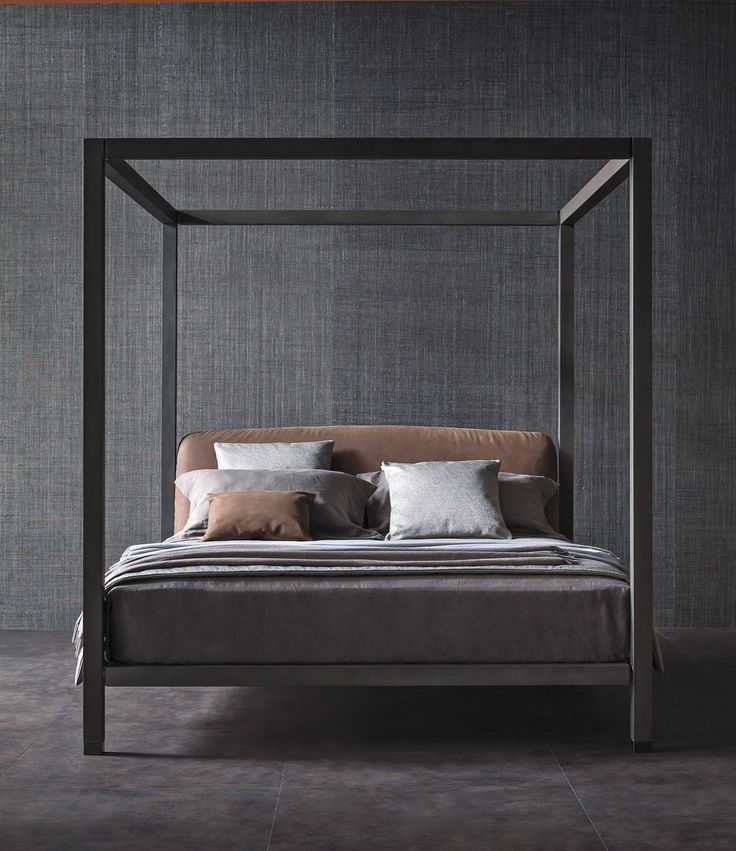 Wooden bed with upholstered headboard ARI | Canopy bed - @flouspa