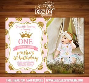 Printable Pink and Gold Glitter Princess Birthday Invitation | Royal Girls 1st Birthday Party or for any age! | Confetti | Baby Shower | FREE thank you card included | Printable Matching Party Package Decorations Available! Banner | Signs | Labels | Favor Tags | Water Bottle Labels and more! www.dazzleexpressions.com