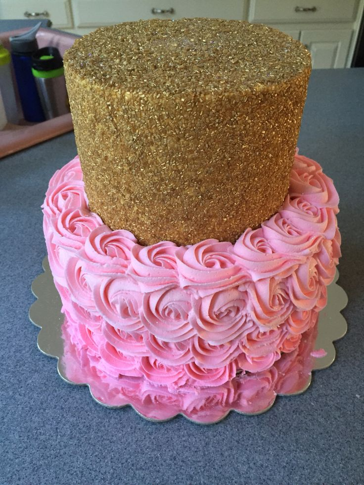 Pink ombré and gold glitter first birthday cake