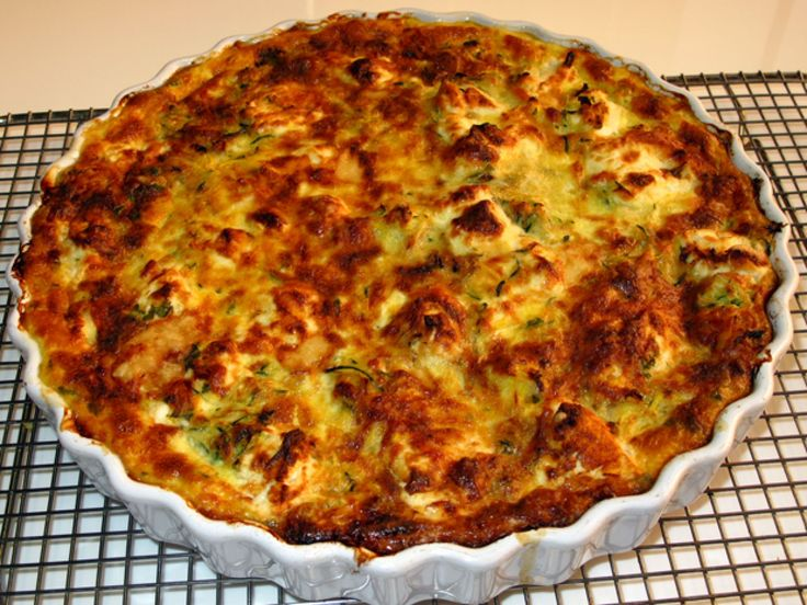 Zucchini and Goat Cheese Crustless Quiche