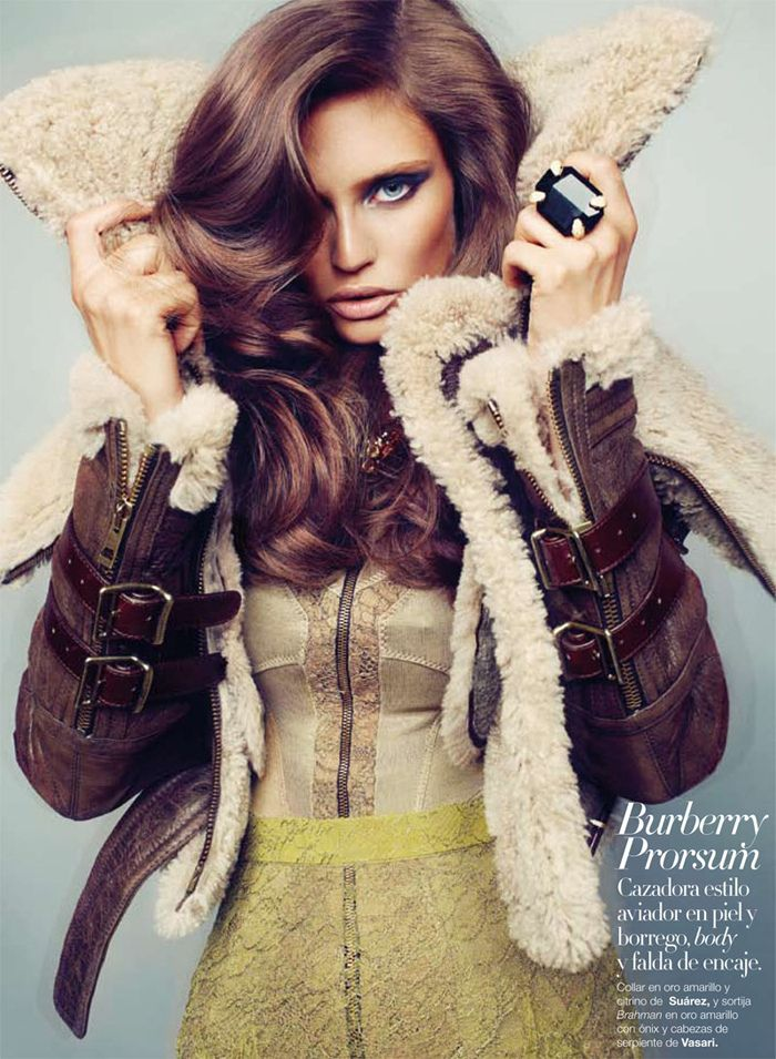 Burberry Prorsum Sherling Aviator Jacket.  Love the jumbo ring too!: Hair Colors, Aviator Jackets, Harpers Bazaars, Hair Makeup, Bomber Jackets, Burberry Prorsum, Leather Jackets, Coats, Bianca Balti