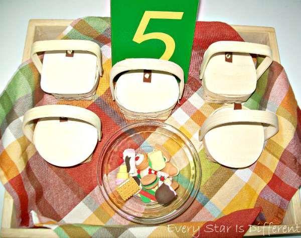 Picnic Basket Number Sorting Practice - Montessori Inspired Picnic Activities