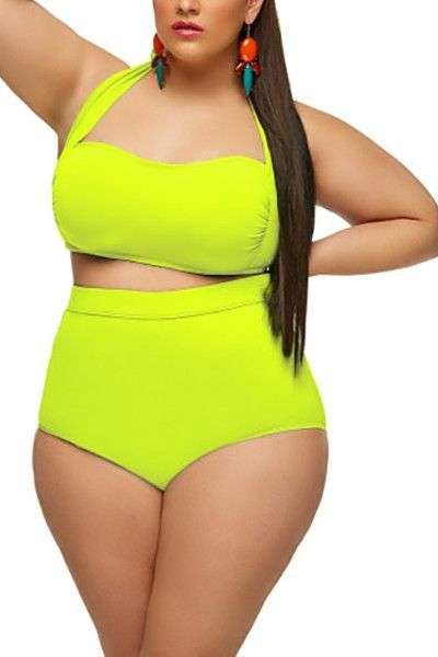 Sexy Halterneck High-Waisted Yellow Two-piece Swimsuit
