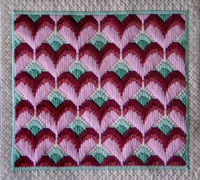 Instructions for Long Stitch Needlepoint Hearts... I'm thinkin' I can do this on plastic canvas.