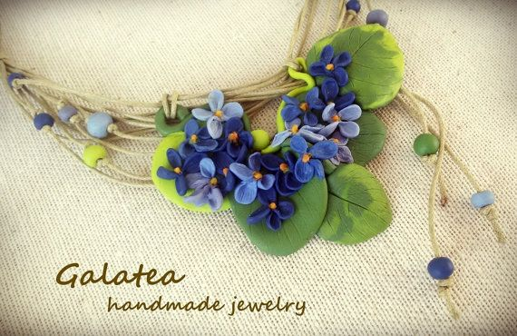 Polymer clay necklace Wild Violets jewelry with by GalateaJewelry