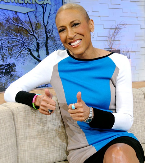 Robin Roberts returns to the studio for a trial run at GMA, 1/24/2013, airing on the ABC Television Network.