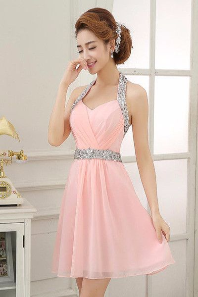 AHC167 Pink Halter Silvery Beaded Sash Homecoming Dresses 2017