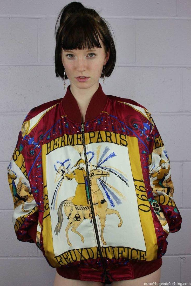 Feux D'Artifice Hermes Inspired Vintage 1990s Satin Bomber Jacket