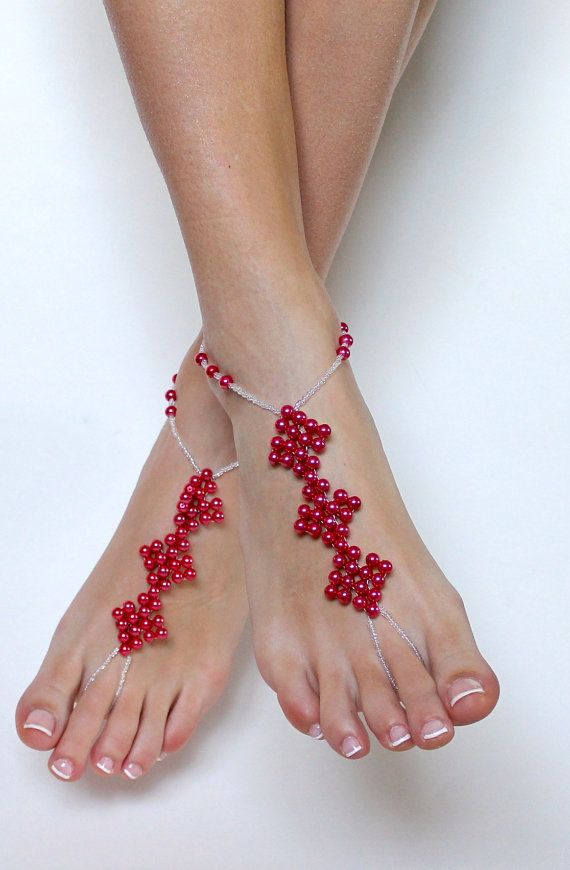 3 square red beaded barefoot sandals pearls and white seed beads foot jewelry anklet