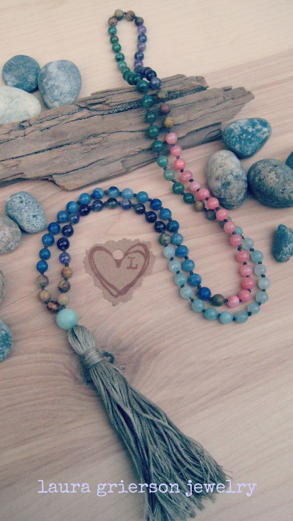 Heart Throat Crown Mala: 108 Hand Knotted Vegan Mala Prayer Bead Necklace by Laura Grierson Jewelry $128