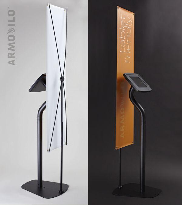 iPad Kiosk - Armodilo Tablet Kiosk with add-on banner stand.