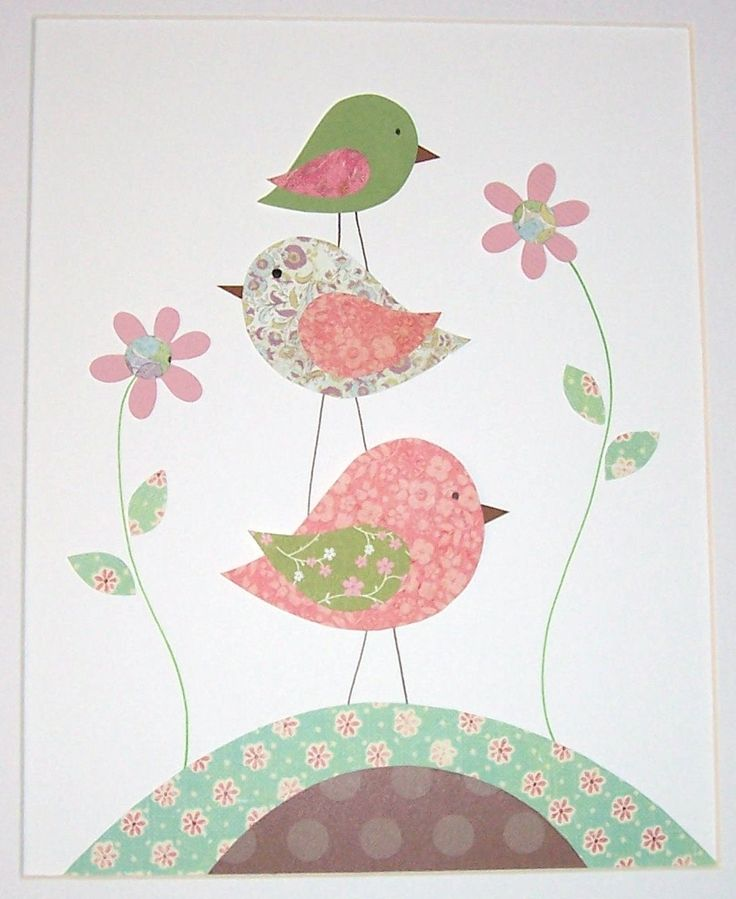 Nursery Art, Children's Art Decor, Baby Girl Nursery Decor, Kids Wall Art, Birds, Pink, Green, One For You and One For Me, 8x10 Print