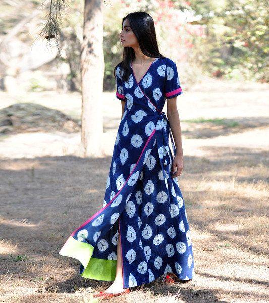Indigo rush Shibori gown by KharaKapas on Etsy