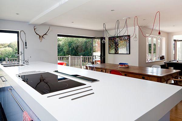 рядом с плитой так же приклеить металлические/деревянные рейки и ставить туда горячие кастрюли сразу с плиты