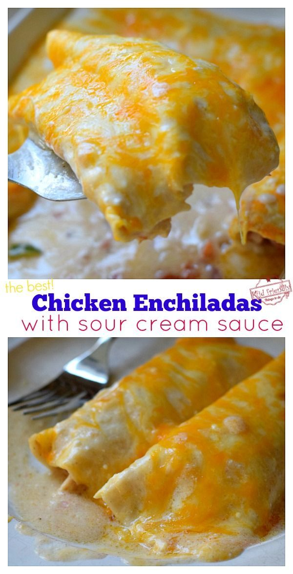 Creamy Chicken Enchiladas With Sour Cream Sauce The Best With Video Kid Friendly Things To Do Recipe In 2020 Creamy Chicken Enchiladas Sour Cream Sauce Mexican Food Recipes Easy
