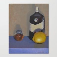 Hot Toddy Ingredients Canvas Print - still life with honey, lemon and whiskybottle