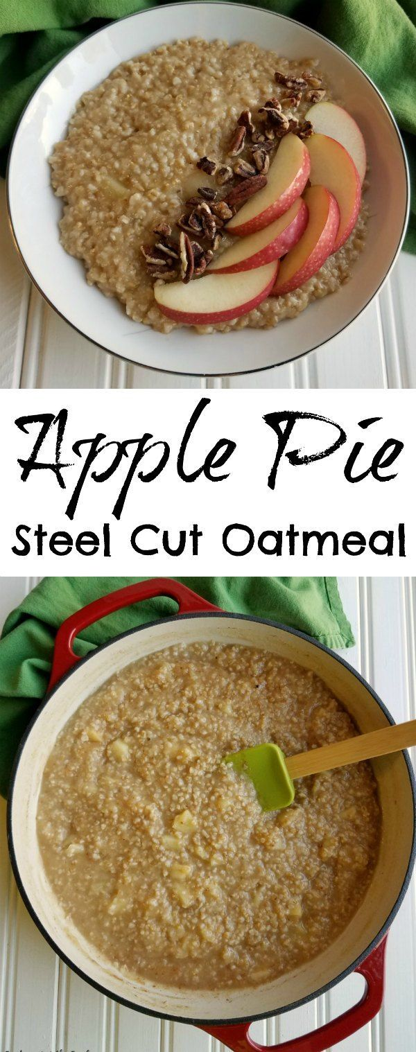 This apple pie steal cut oatmeal is loaded with apple flavors. It is warming, hearty, delicious and perfect for a fall breakfast or brunch. Grab a spoon and dig in! #appleweek #ad