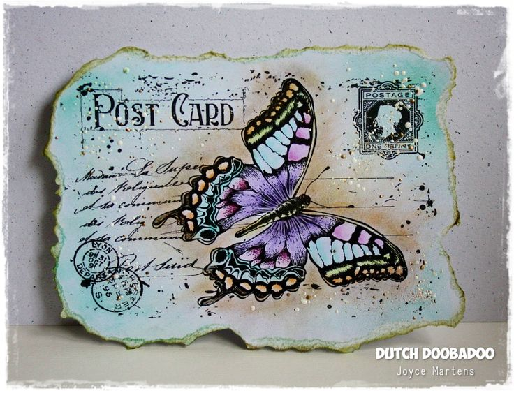6410/0072 Noor! Design Stempel old letter butterfly door Joyce Martens