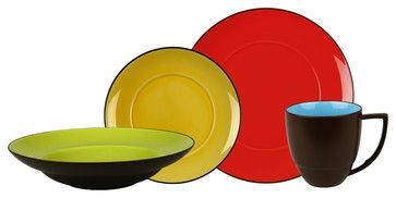 Duo 16pc Place Setting Duo (Dinner, Salad, Soup Plate, Mug) modern-plates