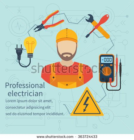 Professional electrician icon. Equipment and tools electrician. Banner concept profession electrician. Isolate icons electricity in flat style. Electrician on background of electrical circuit. Vector. - stock vector