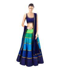 RK Creation Blue Dupion Silk Semi Stitched Lehenga