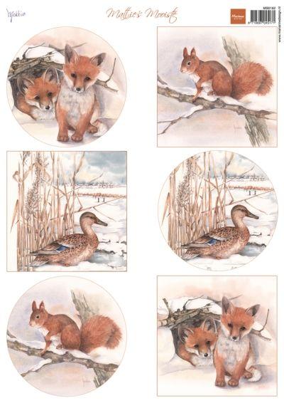 Mb0162 Mattie's winter animals - Foxes - Mattie de Bruine A4 - Marianne Design Knipvellen - Hobbynu.nl