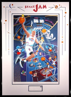 "Melanie Taylor Kent's ""Space Jam"", Limited Edition Serigraph on Paper, Hand-Signed by Taylor Kent and basketball legend, Michael Jordan (Basketball / Looney Tunes)"