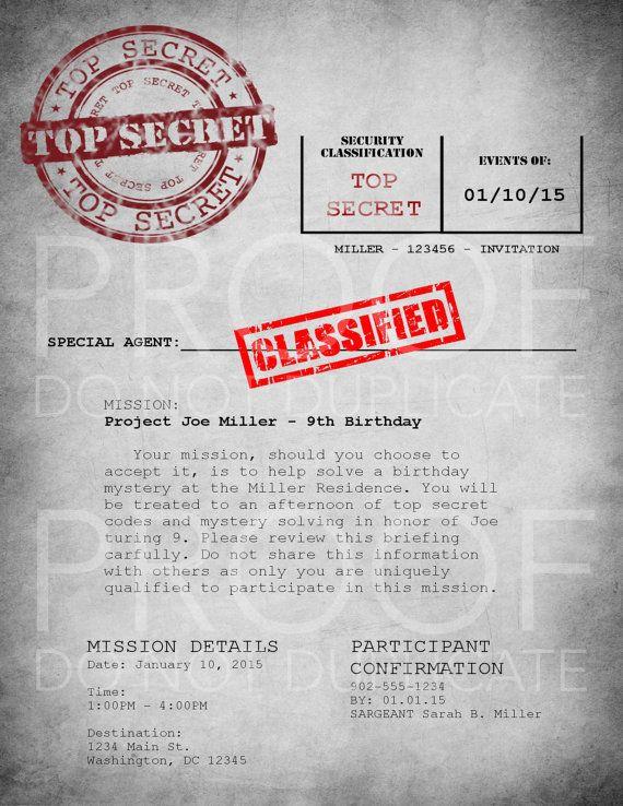 Spy Party  Invitations 24 cards  envelopes  CUSTOM by AroraDesigns