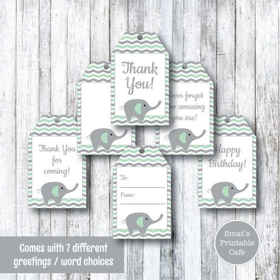 Mint Green Elephant PRINTABLE Gift Tags - Instant Download - Chevron Baby…