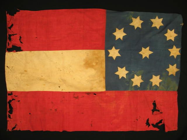 The only flag known to exist from the Second Georgia Infantry Regiment of the Confederate Army, made in 1860 ~ Richard Hatch Assoc. Auctions