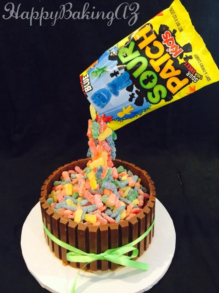 Gravity Defying Sour Patch Brownie Cake Birthday Cakes