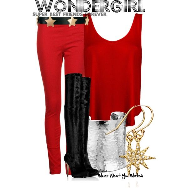 DC Nation Shorts by wearwhatyouwatch on Polyvore featuring French Connection, Le Silla, Blue Nile, mizuki, ASOS, skinny jeans, over-the-knee boots, cuff bracelets, star earrings and red and gold