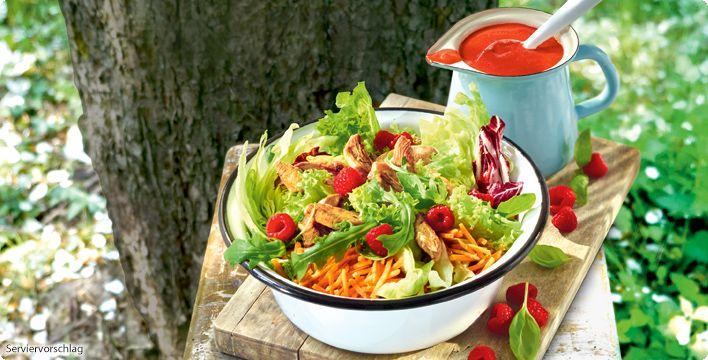 Rezept Sommerlicher Salat mit Hähnchenstreifen & Himbeervinaigrette