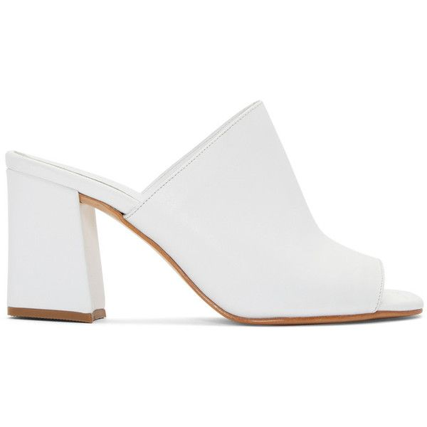 Maryam Nassir Zadeh White Penelope Slide Sandals (€380) ❤ liked on Polyvore featuring shoes, sandals, heels, mules, white, slip on mules, mule sandals, white heeled sandals, slip on shoes and white shoes