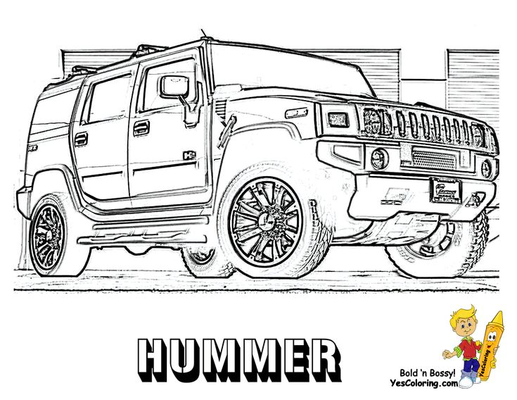 Color Page of The Hummer (Front View) Coloring Sheets To