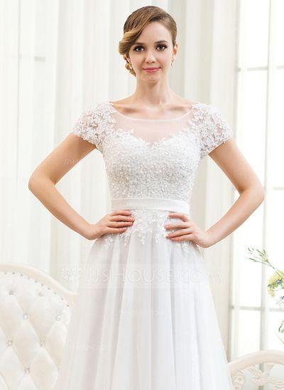A-Linie/Princess-Linie U-Ausschnitt Sweep/Pinsel zug Tüll Spitze Brautkleid  mit Perlstickerei Pailletten (002052783)