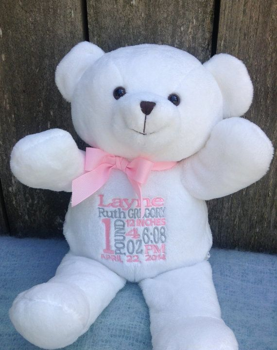 10 best baby shower ideas images on pinterest valentine day personalized baby gift white teddy bear by worldclassembroidery 3599 negle Images