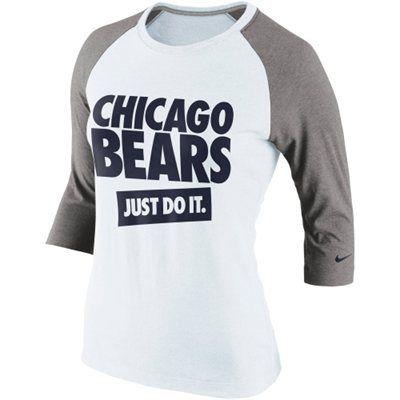 Nike Chicago Bears Ladies Stamp It Three-Quarter Length Raglan Sleeve T-Shirt - White/Ash
