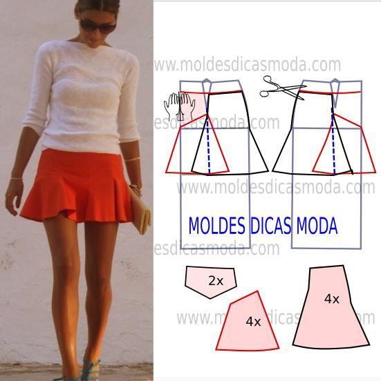 Analise a execução do molde de saia panos que está explicada com grande rigor, em pormenor no desenho, para que concluam a modelagem da saia com facilidade.